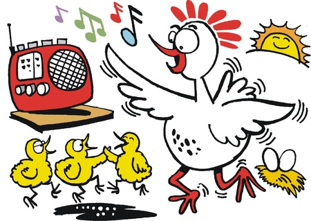 country music: cartoon of happy hen dancing with chickens