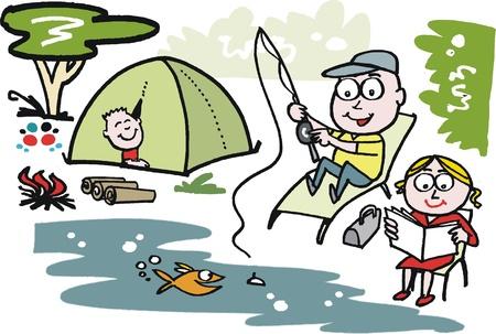палатка: Мультфильм мужчина и женщина на рыбалке
