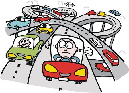 molesto: de dibujos animados de motorista frustrado en la autopista Vectores