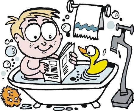 white bathroom: cartoon of smiling boy reading in bath