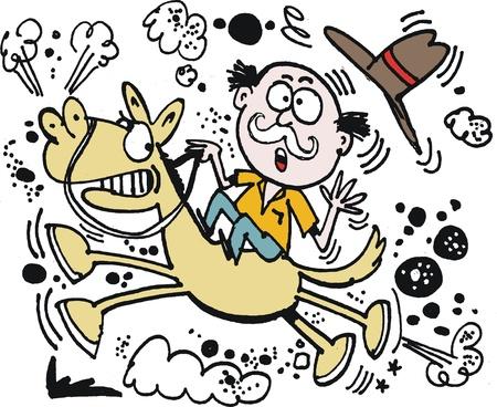 cartoon van de mens op bokken paard