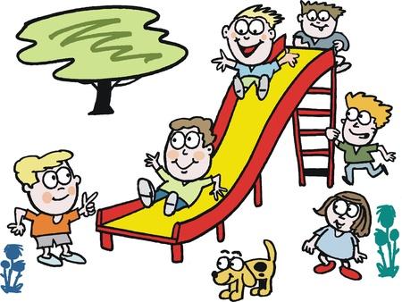 cartoon of children playing on slide Stock Vector - 12233368