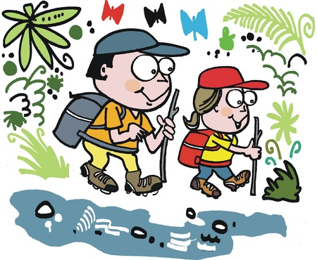 couple hiking: cartoon of happy couple hiking in forest Illustration