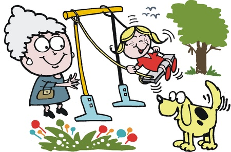 cartoon of grandmother pushing child on swing Vector