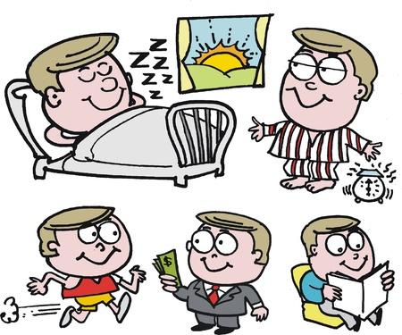 wealthy man: cartoon of happy, healthy, wealthy man
