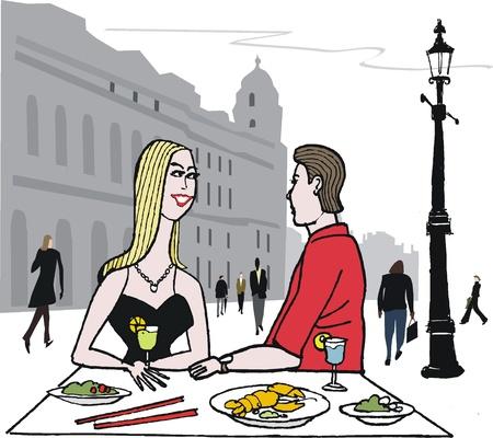 pareja comiendo: ilustración de comedor pareja en la ciudad Vectores