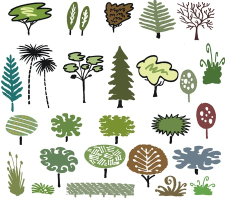 poplar: group cartoon of trees, plants and shrubs