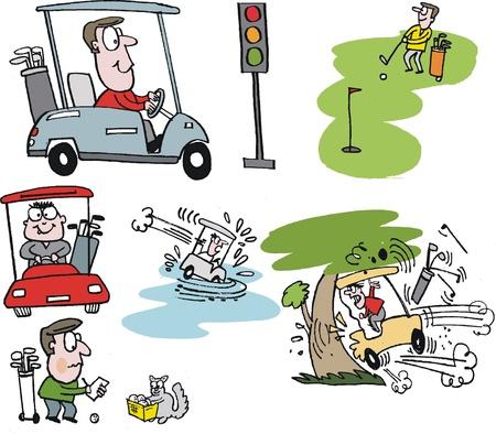 cartoon selectie van de golfers met karren Stock Illustratie