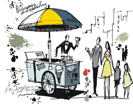 vendors: illustration of ice cream vendor in park Illustration