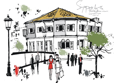 people walking:  illustration of old Singapore building by river