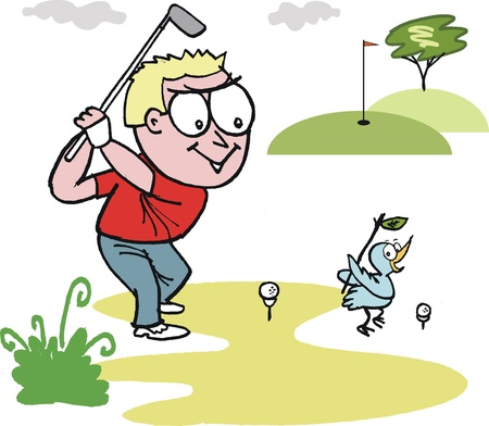 cartoon of smiling golfer swinging club Vector