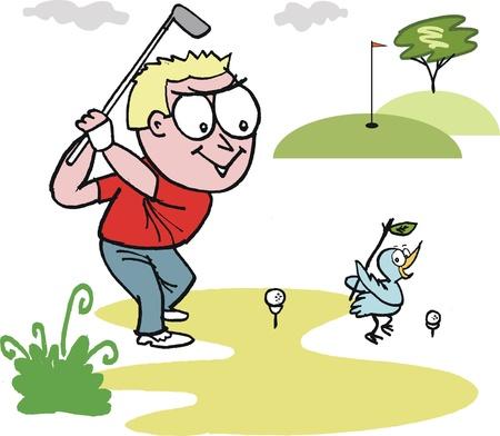 golfer swinging: cartoon of smiling golfer swinging club
