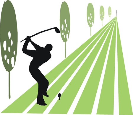 cartoon of man swinging golf club on fairway Illustration
