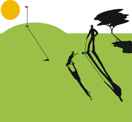 illustration of man on golf course at sunset Vector