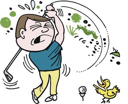anguished: cartone animato di golfista infelice cercando di colpire palla