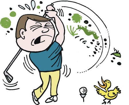 golf ball on tee:  cartoon of unhappy golfer trying to hit ball Illustration