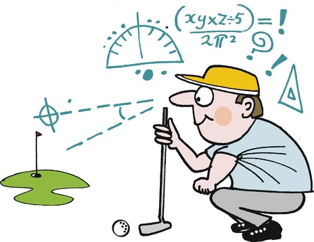 humorous: cartoon of golfer planning green shot