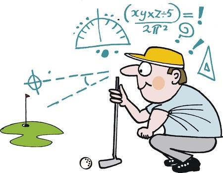 cartoon van de golfer planning van groene schot