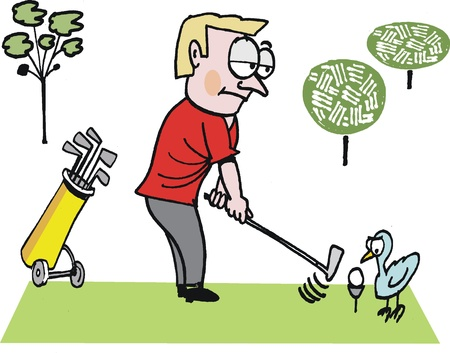 bemused: cartoon of golfer teeing off on golf course