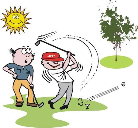 결정된: 공을 치는 골프 선수의 벡터 만화
