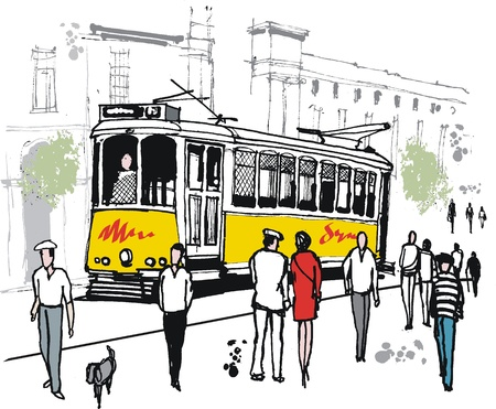 drawing of old tram in Lisbon, Portugal.