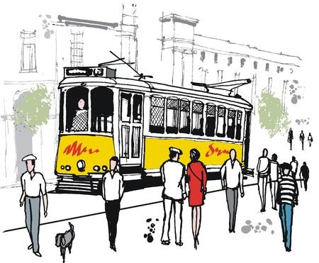 tekening van de oude tram in Lissabon, Portugal. Stock Illustratie
