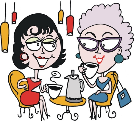humor glasses: cartoon of two woman drinking coffee