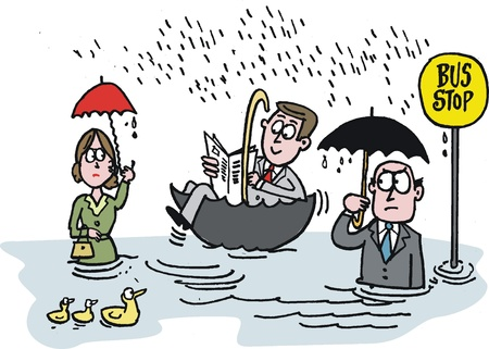 jokes: cartoon of commuters waiting in rain for bus