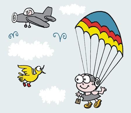 cartoon of mature age woman using parachute Vetores