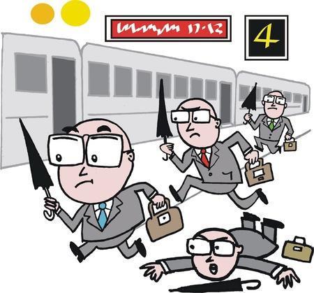 tren caricatura: de dibujos animados de los hombres de negocios se apresuran a coger el tren