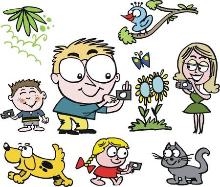keen: cartoon of happy family taking photographs outdoors