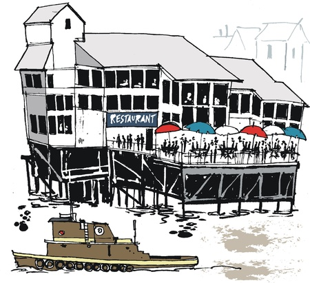 illustration of wharf restaurant, New Orleans Vector