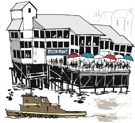 tug boat: illustration of wharf restaurant, New Orleans