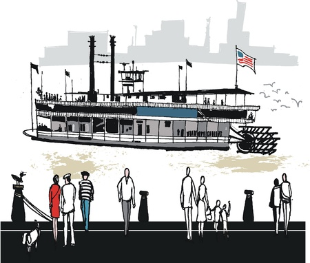 illustration of paddlesteamer, New Orleans USA Vector