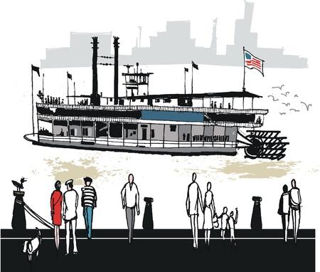 orleans: illustration of paddlesteamer, New Orleans USA Illustration