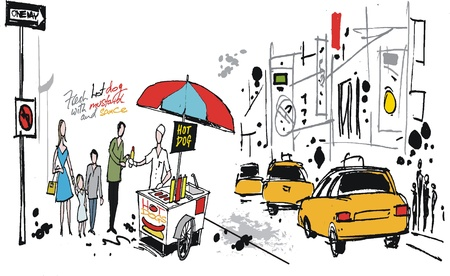 vendors: drawing of hot dog seller, New York USA Illustration