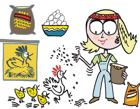 Vector cartoon of woman feeding chickens on farm Vector
