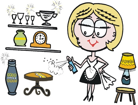 cleaning cloth: Vector cartoon of housewife spraying polish on table Illustration