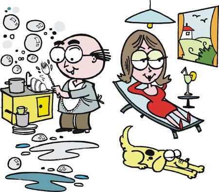 recliner: Vector cartoon of man washing dishes