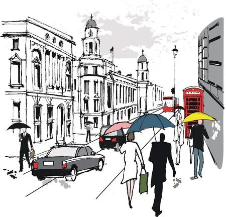 Vector illustratie van voetgangers, Whitehall, Londen Stock Illustratie
