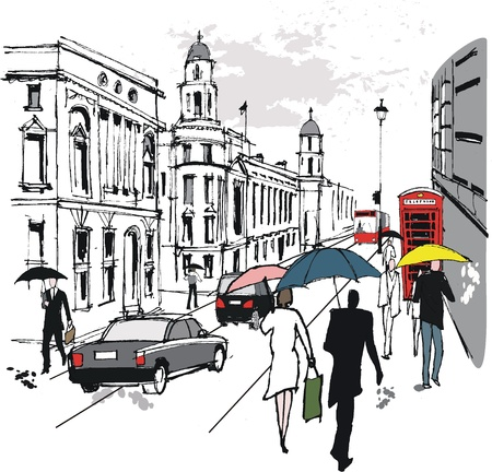 Vector illustration of pedestrians, Whitehall, London