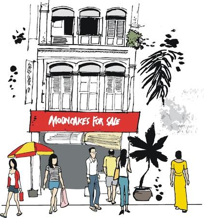 bocetos de personas: Dibujo vectorial de edificio antiguo, el Barrio Chino, Singapur