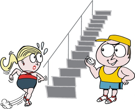 climbing stairs: Vector cartoon showing woman working out with trainer