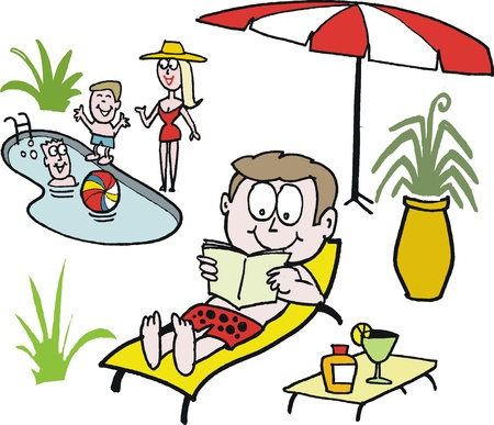 suntan lotion: Vector cartoon showing man relaxing with family around pool