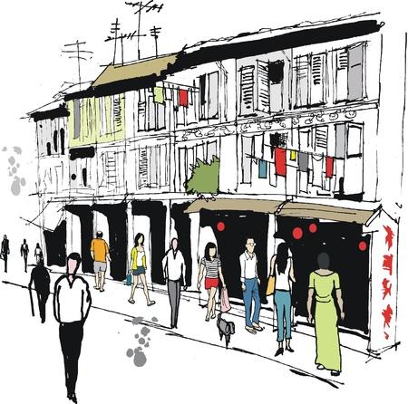 laundry line: Ilustraci�n vectorial de la zona de Barrio Chino de edad, Singapur