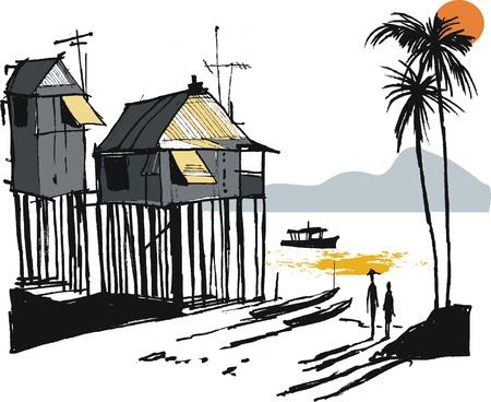 pirag�ismo: Ilustraci�n vectorial de pueblo de pescadores malayos, Singapur
