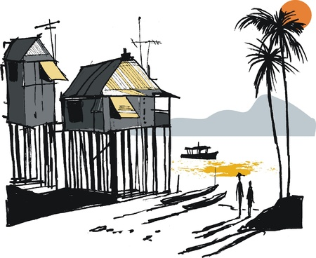 Vector illustration of Malay fishing village, Singapore