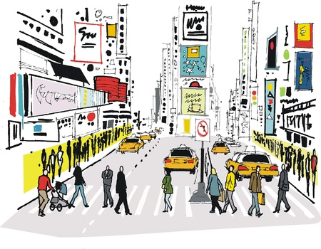 lijntekening: Vector illustratie van Times Square, New York.