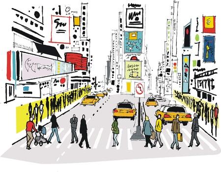 lijntekening: Vector illustratie van Times Square, New York.