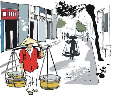 Vector illustratie van Hanoi straat met mensen